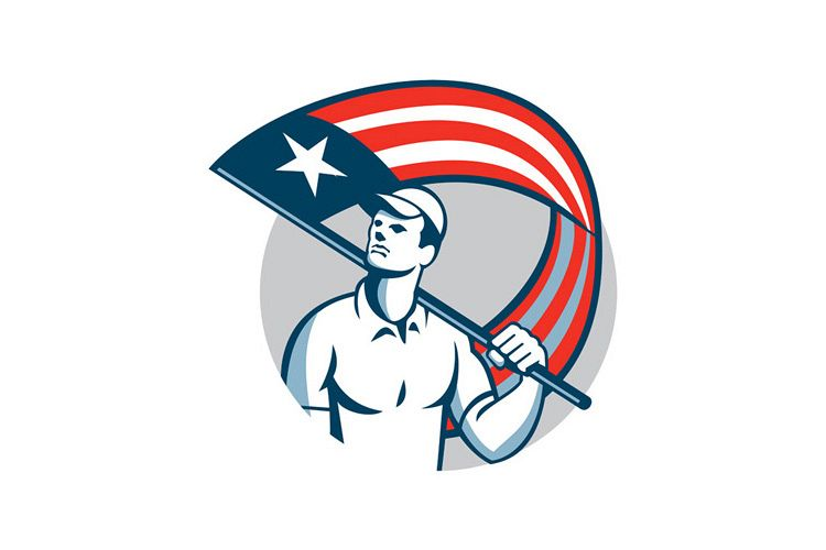 American Tradesman Holding USA Flag Circle example image 1