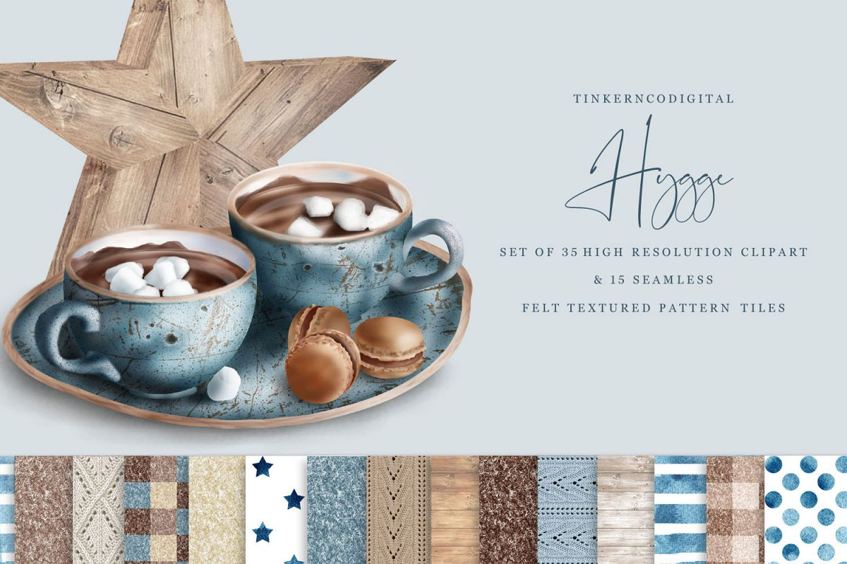 Hygge Clipart and Seamless Pattern Paper Sublimation designs example image 1