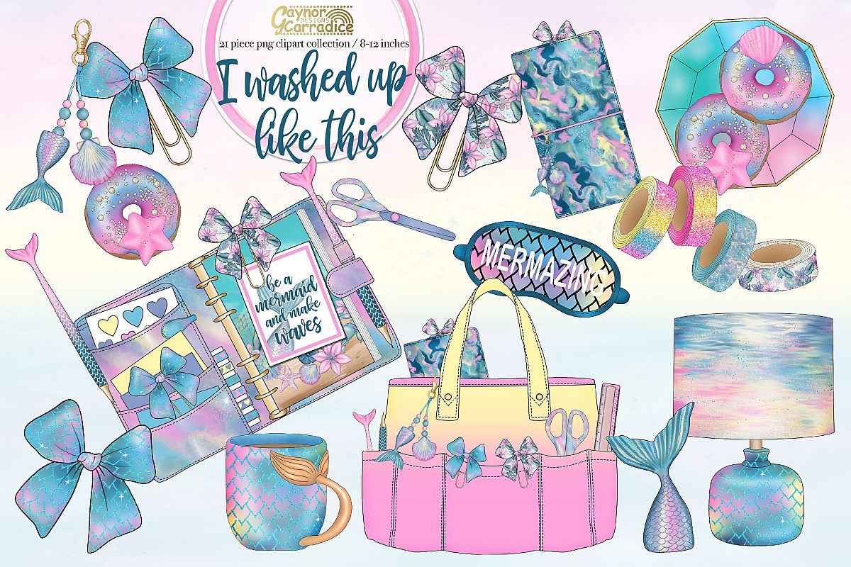 I washed up like this - mermaid planner clipart collection example image 1