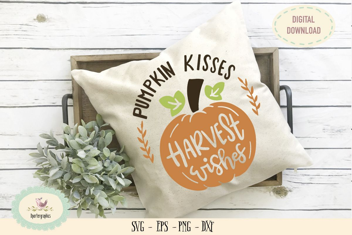Pumpkin kisses harvest wishes SVG PNG thanksgiving sign example image 1