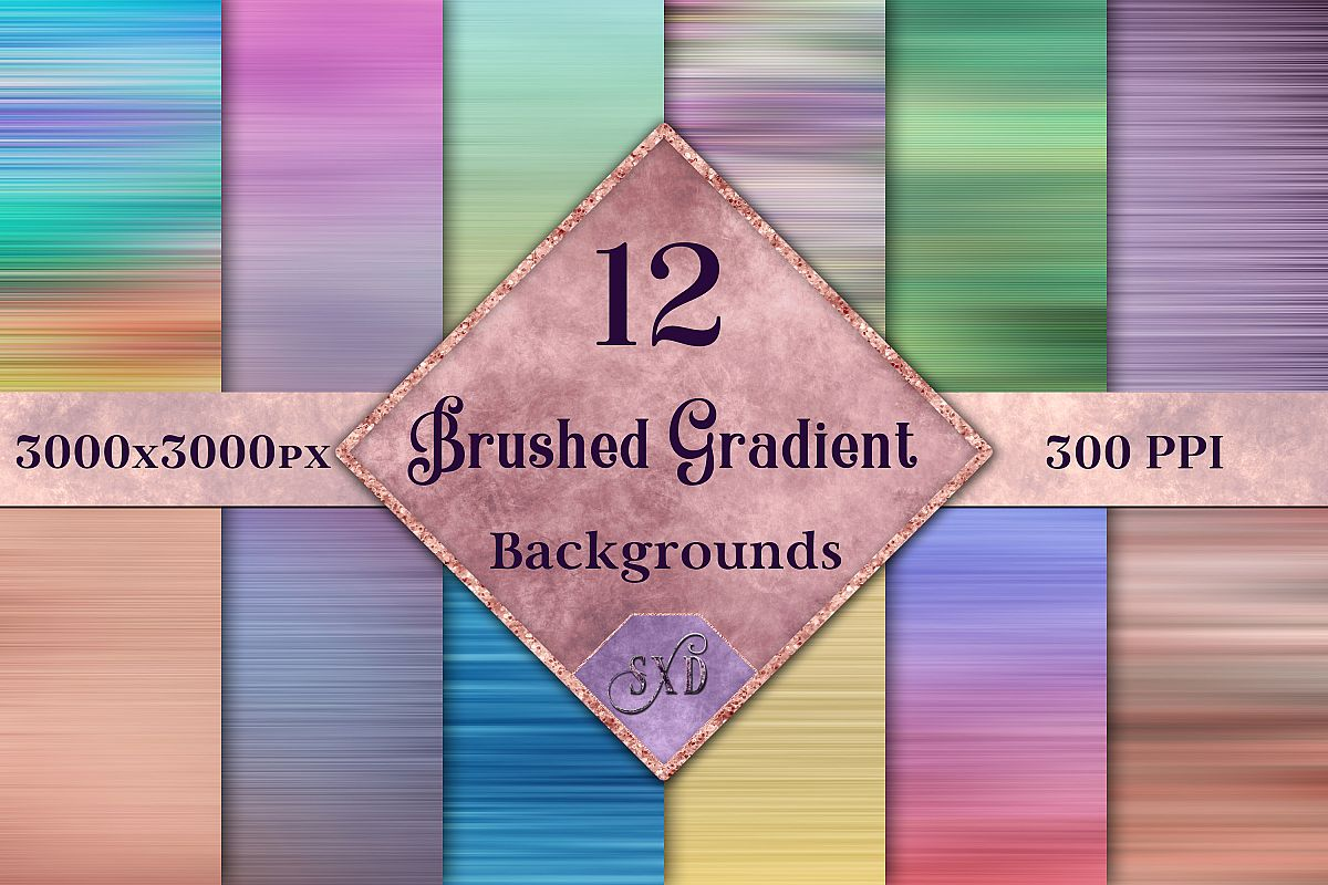Brushed Gradient Backgrounds - 12 Image Textures Set example image 1