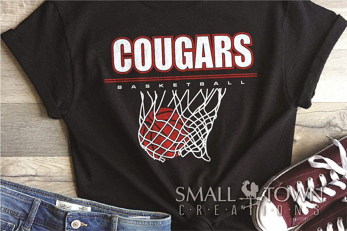 Cougar basketball, Cougars mascot, PRINT, CUT, DESIGN example image 1