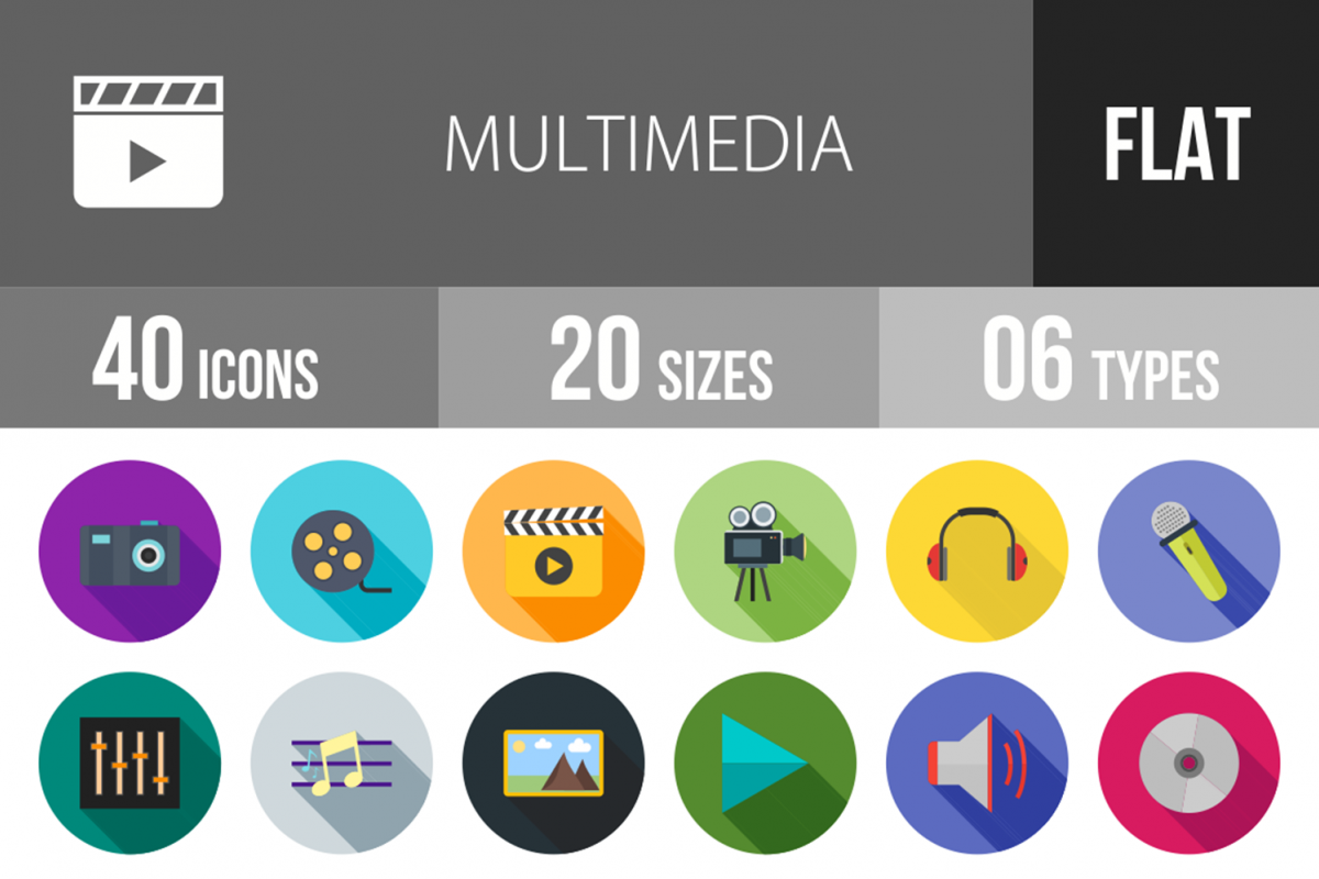 40 Multimedia Flat Long Shadow Icons example image 1