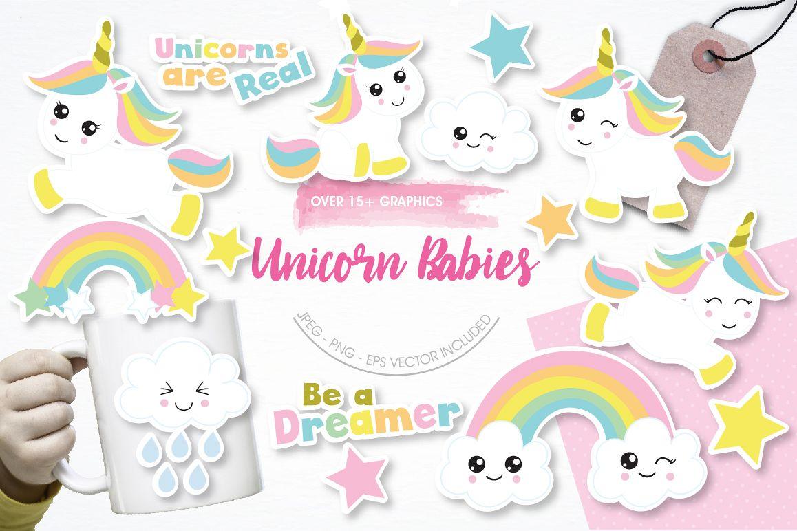 Unicorn Babies graphics and illustrations example image 1