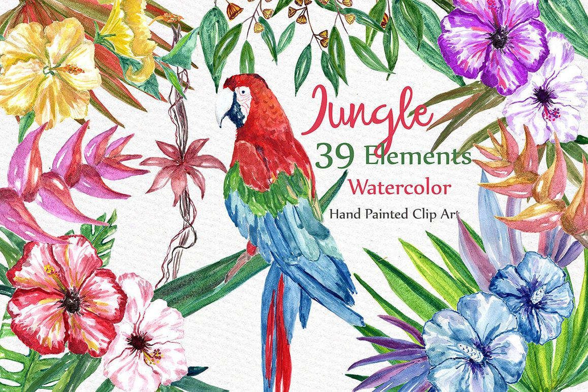 Watercolor Jungle clipart example image 1