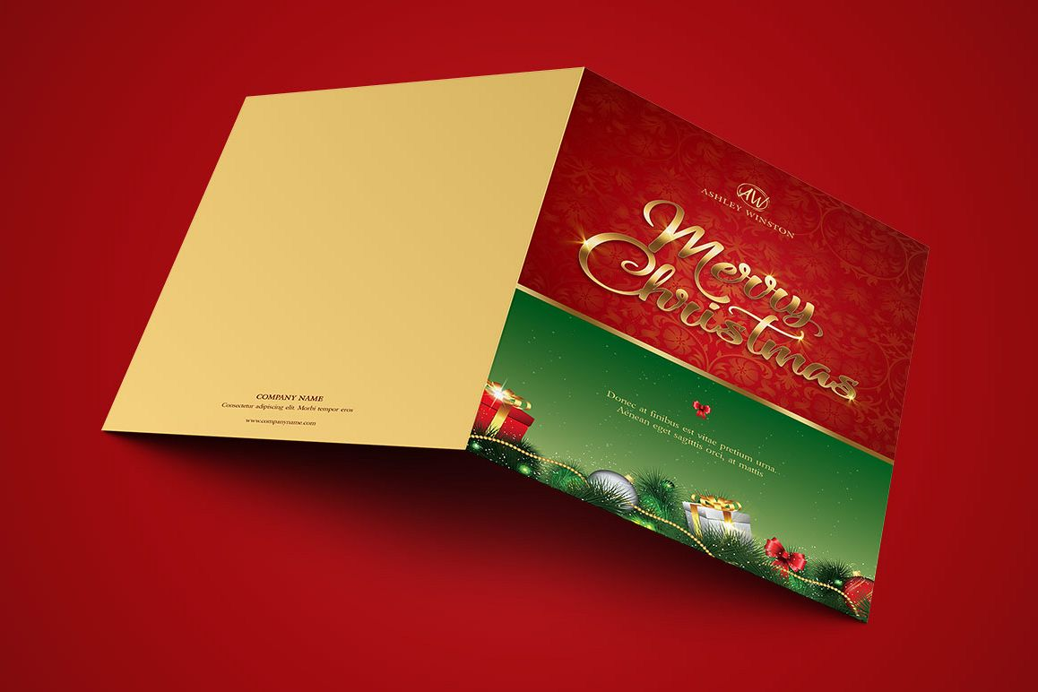 Happy Christmas Greeting Card Template example image 1