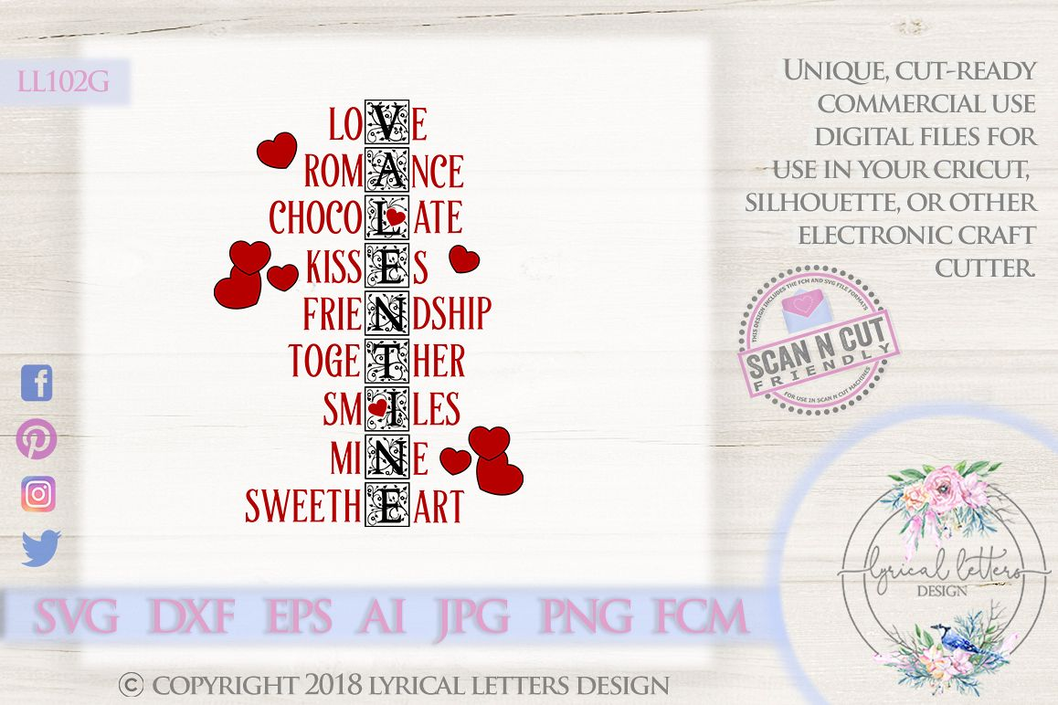 Valentine Word Art Valentine's Day SVG DXF Cut File LL102G example image 1