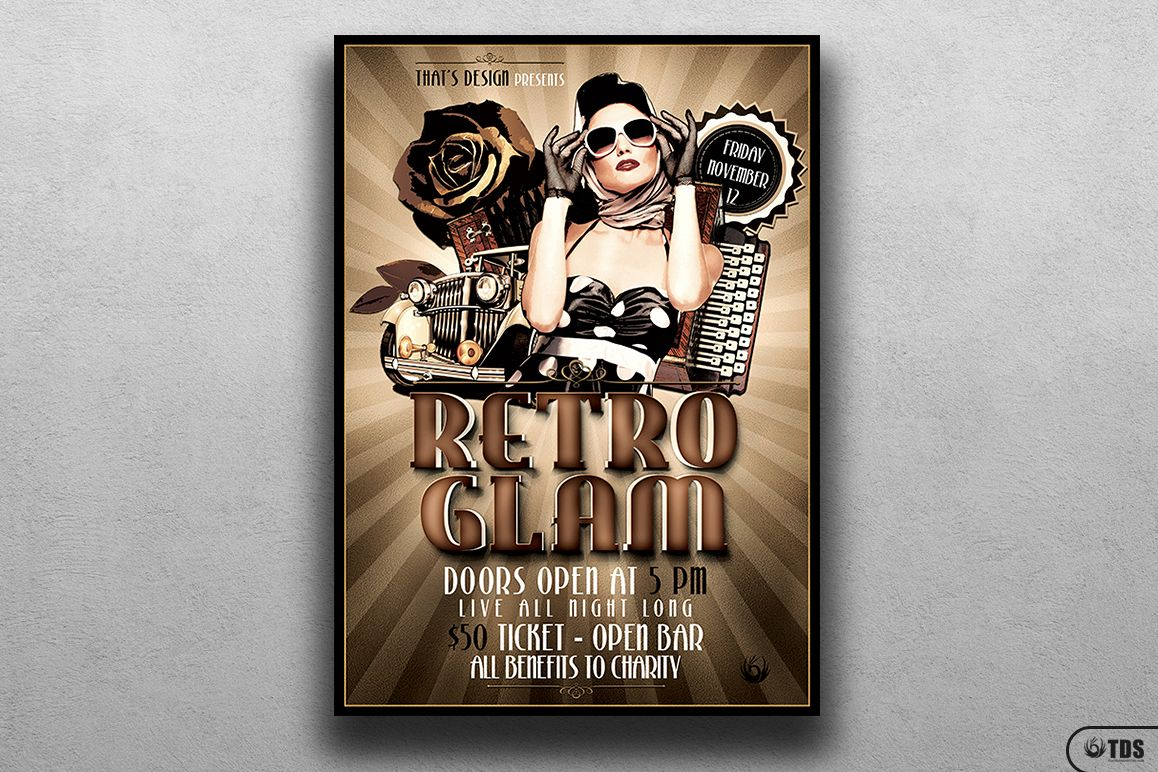 Retro Glam Flyer Template V1 example image 1