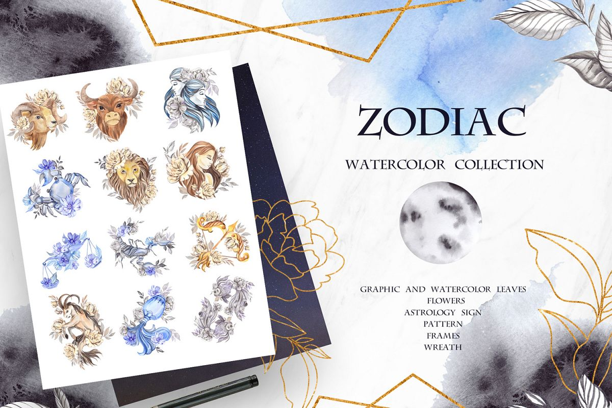 Zodiac. Watercolor collection example image 1