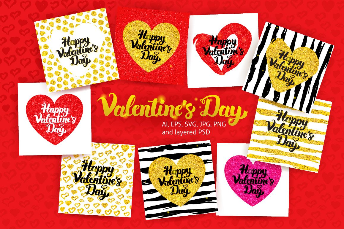 Happy Valentine's Day Postcards Lettering example image 1