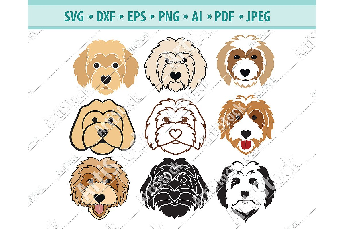 Goldendoodle SVG, Dog Silhouette SVG, Pets Dxf, Dog Png, Eps example image 1