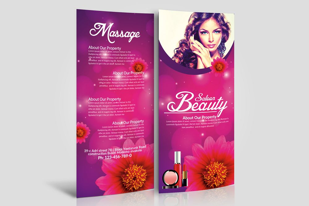 Beauty Salon Rack Card Template example image 1