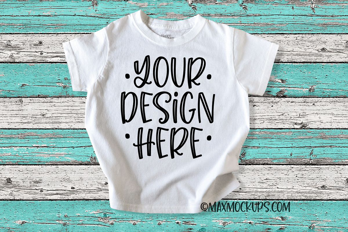 Kids white shirt mockup, colored distressed wood background example image 1