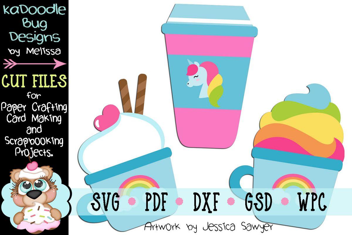 Unicorn Coffee Cut File - SVG PDF DXF GSD WPC example image 1