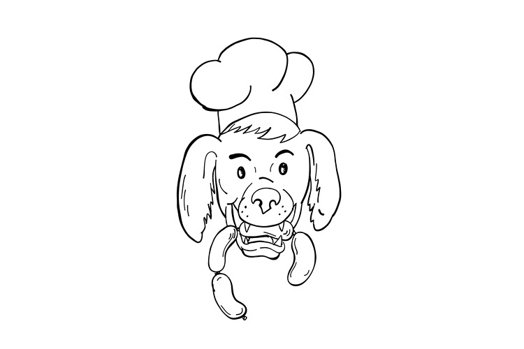 Chef Dog Biting Sausage String Cartoon Black and White example image 1