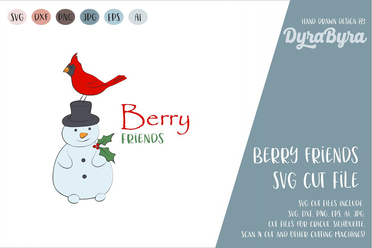 Best Friends SVG / Cardinal Bird and Snowman SVG Cut File example image 1