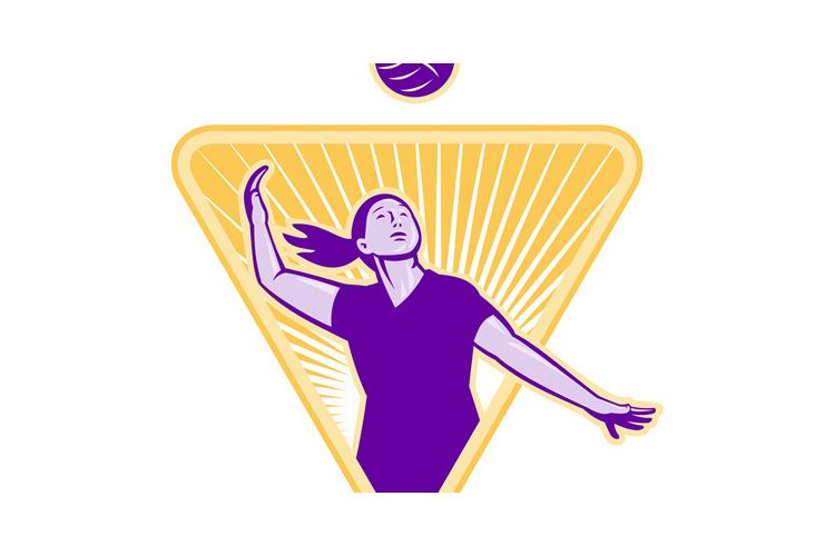 Volleyball Player Serve Ball Front example image 1