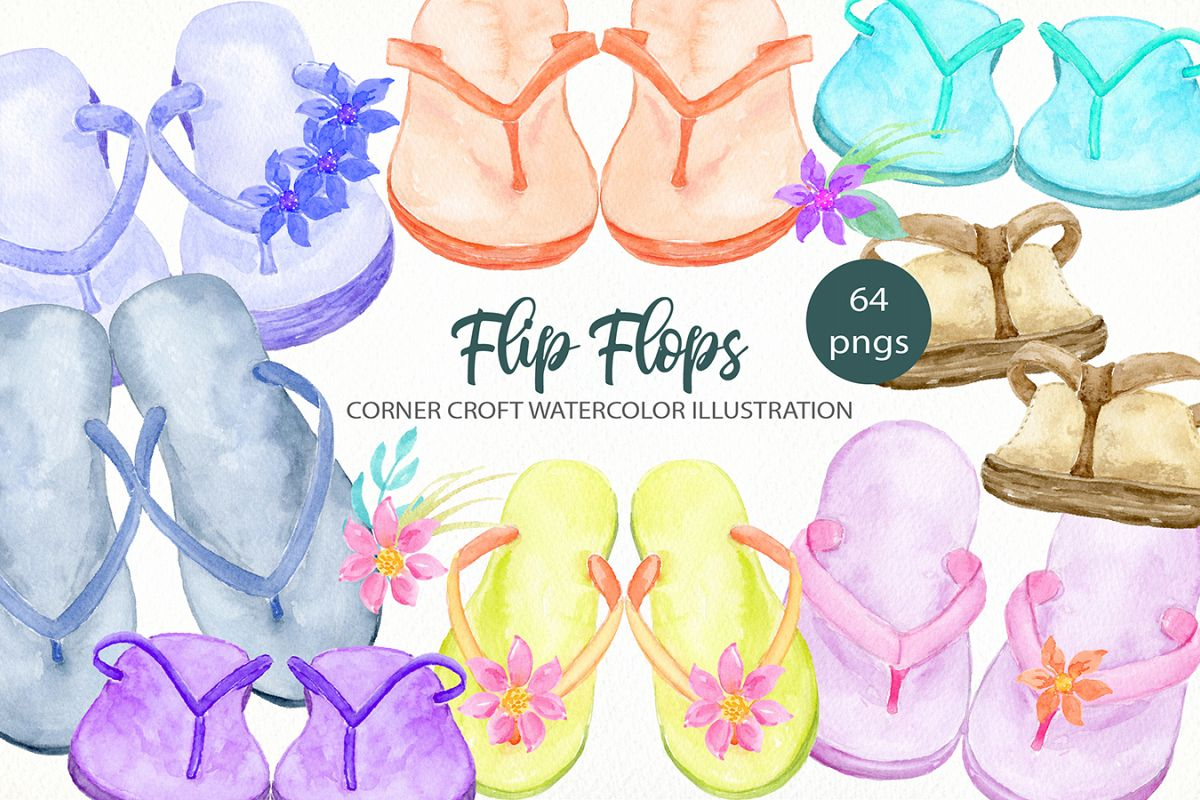 Watercolor flip flops clipart for instant download example image 1