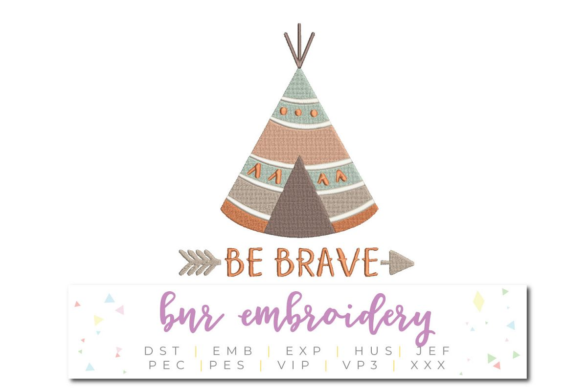 Be Brave Machine Embroidery Design example image 1