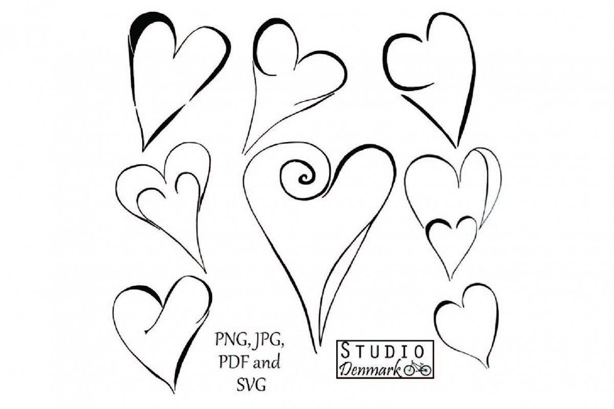 Heart doodle. Hearts clipart set