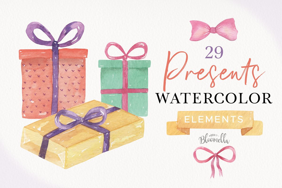 Watercolor Presents Gifts Clipart Elements Tags Banners Bows example image 1