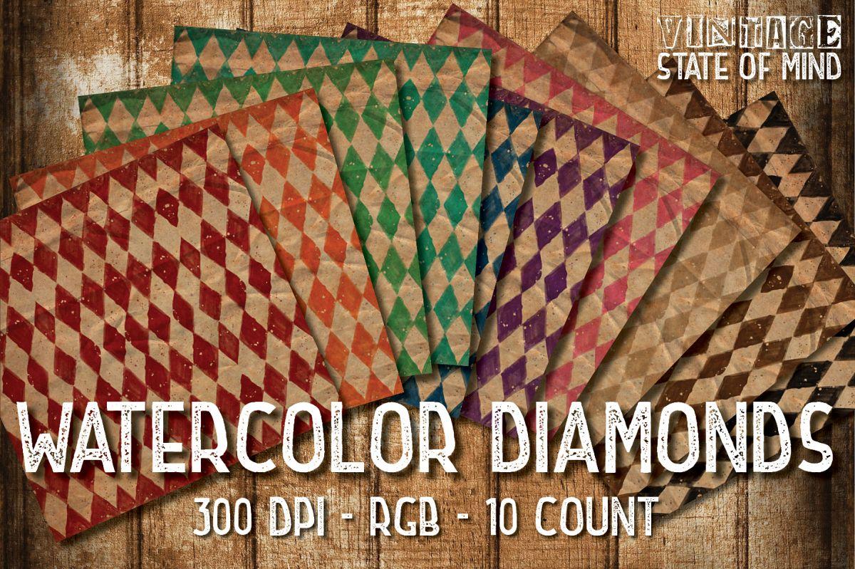 Watercolor Diamonds Digital Papers example image 1