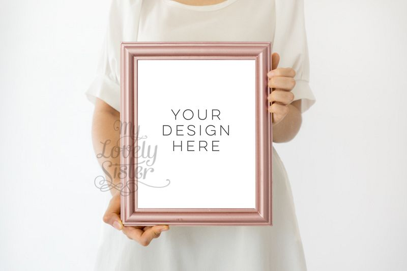 rose gold frame mock up, gold rose mock up frame 8x10, rustic pink gold frame, rose gold mock up frame, Wall Art Display Template Styled example image 1