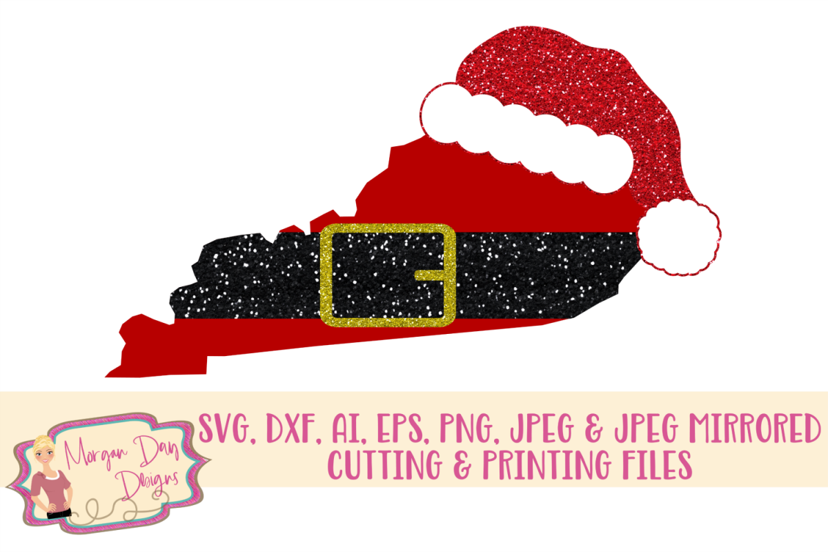Kentucky Santa SVG, DXF, AI, EPS, PNG, JPEG example image 1
