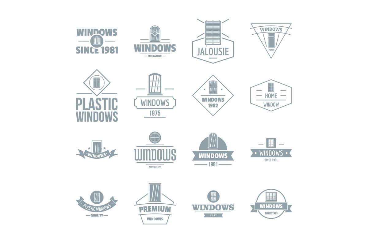 Window construction logo icons set, simple style example image 1