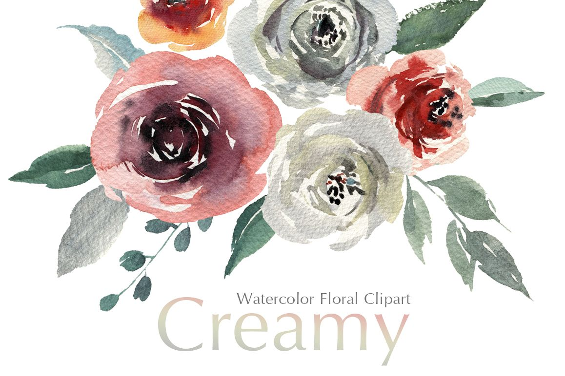 Watercolor Flowers Creamy Roses PNG example image 1