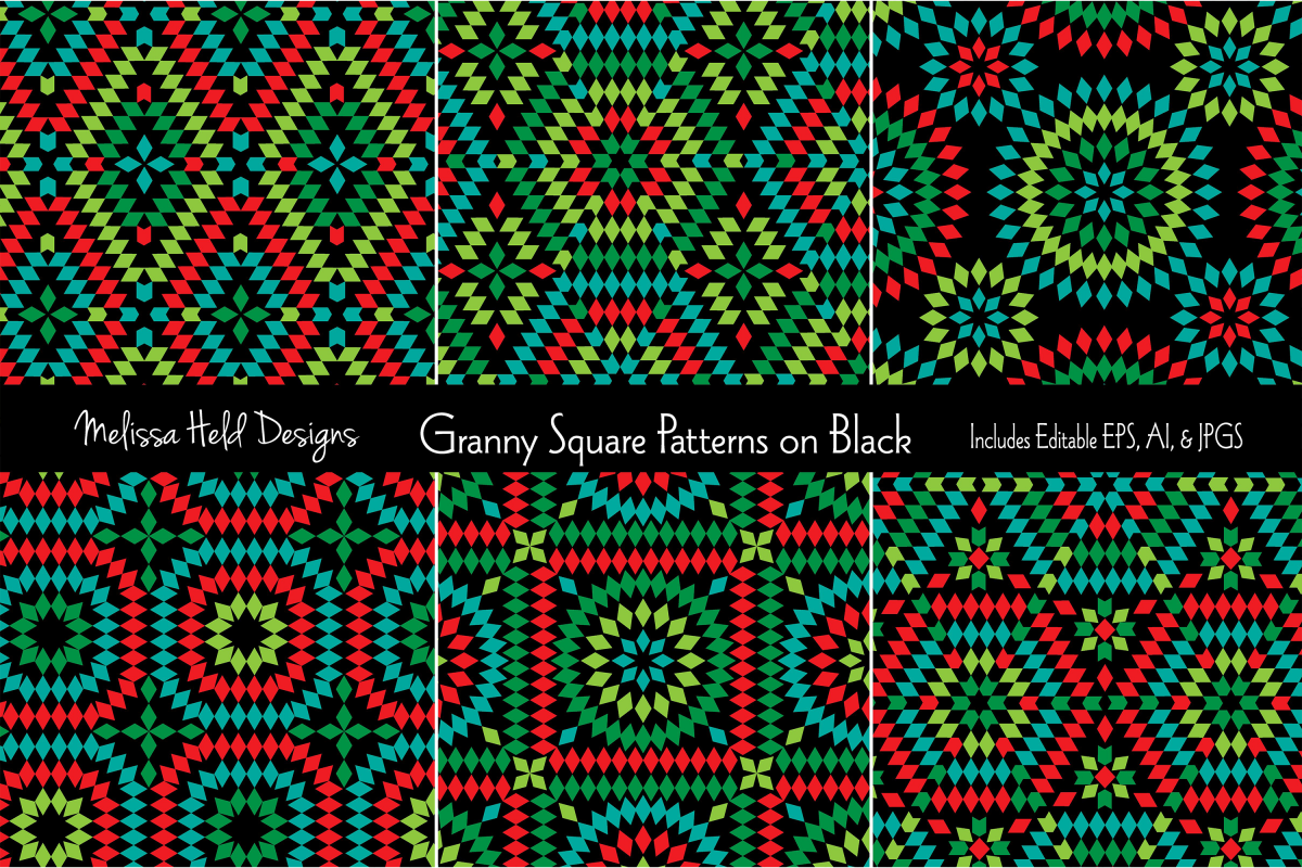 Granny Square Patterns on Black example image 1