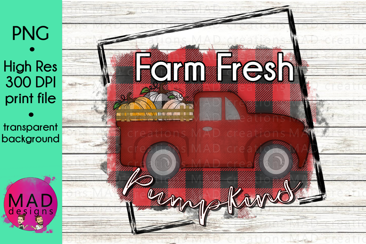 Farm Fresh Pumpkins - Retro Red Pickup Truck - Buffalo Plaid example image 1