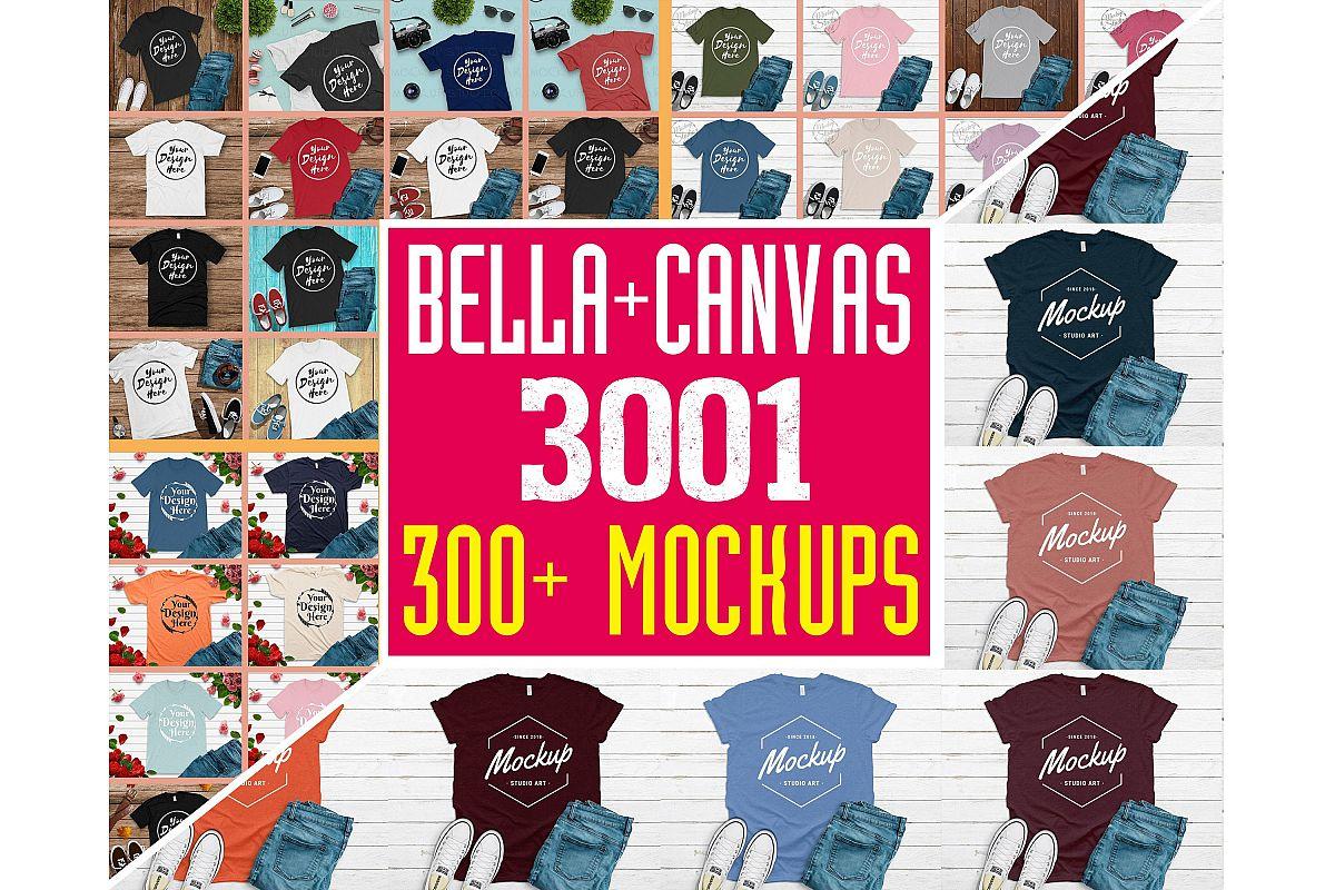 300 Mockups Bella Canvas 3001 Unisex Tshirt Flat Lay Mock Up example image 1