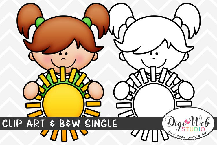 Clip Art & B&W Single - Summer Girl w/ The Sun Topper example image 1