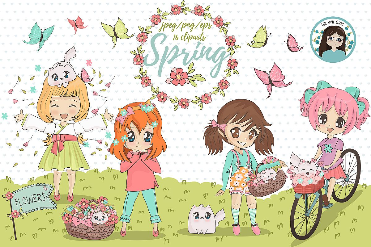 Spring chibi characters example image 1