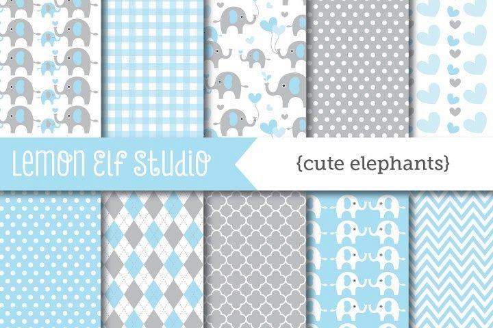 Cute Elephants-Digital Paper (LES.DP10A) example image 1