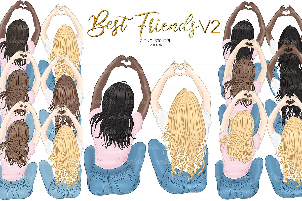 Best Friends Clipart Besties Clipart BFF Clipart Soul Sister example image 1