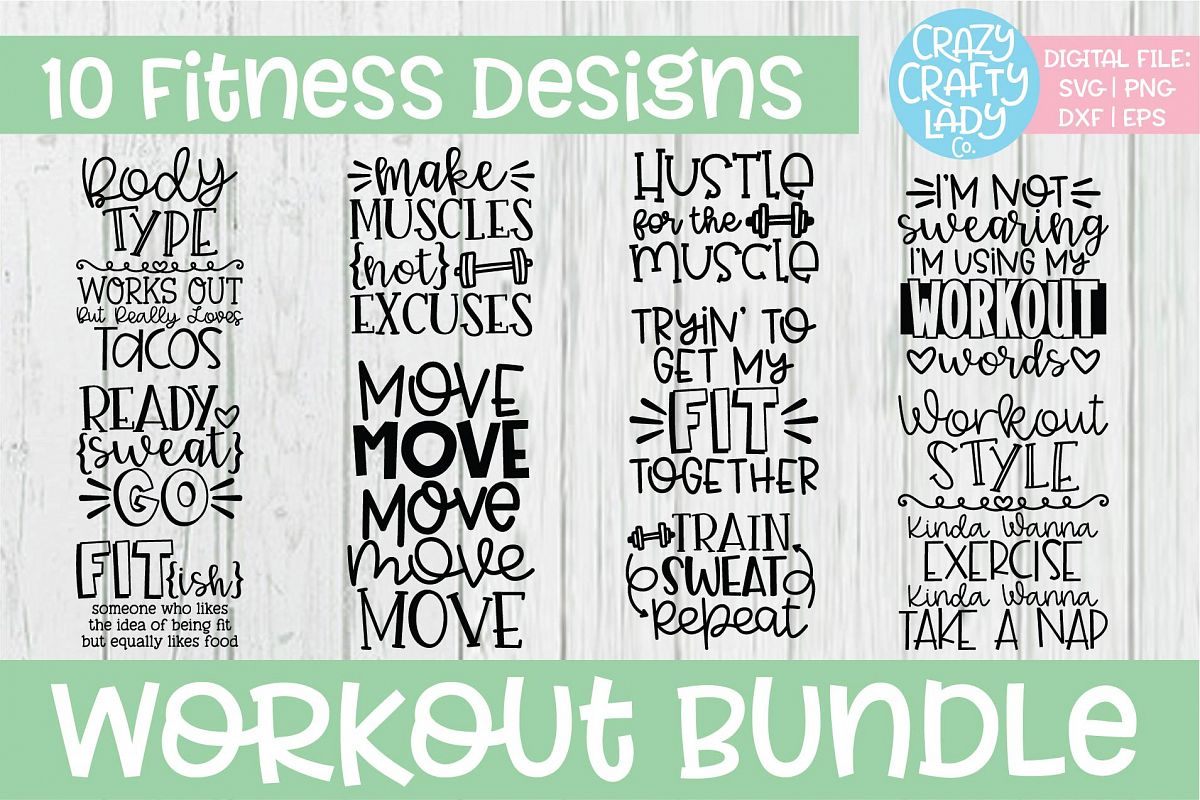 Workout SVG DXF EPS PNG Cut File Bundle example image 1