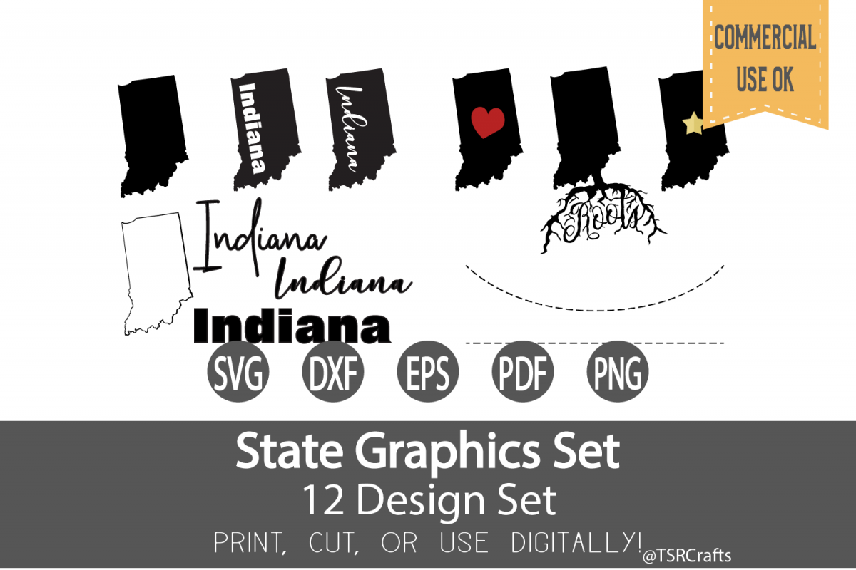 Indiana State Graphics Set - Clip Art and Digital Cut files example image 1