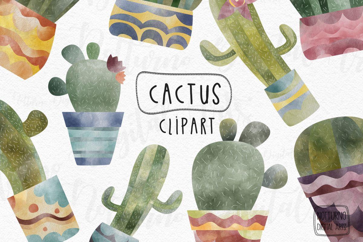 Watercolor cactus clipart. Plants digital images. example image 1