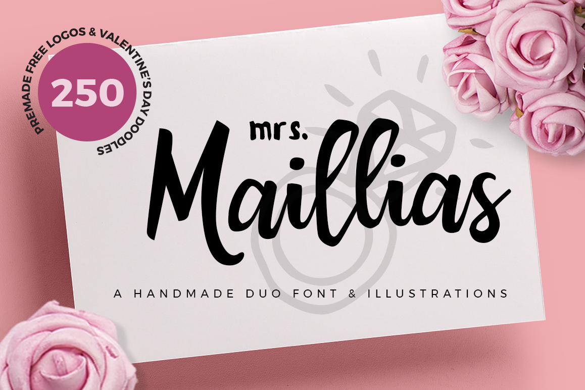 Mrs Maillias Duo Font & Doodles example image 1