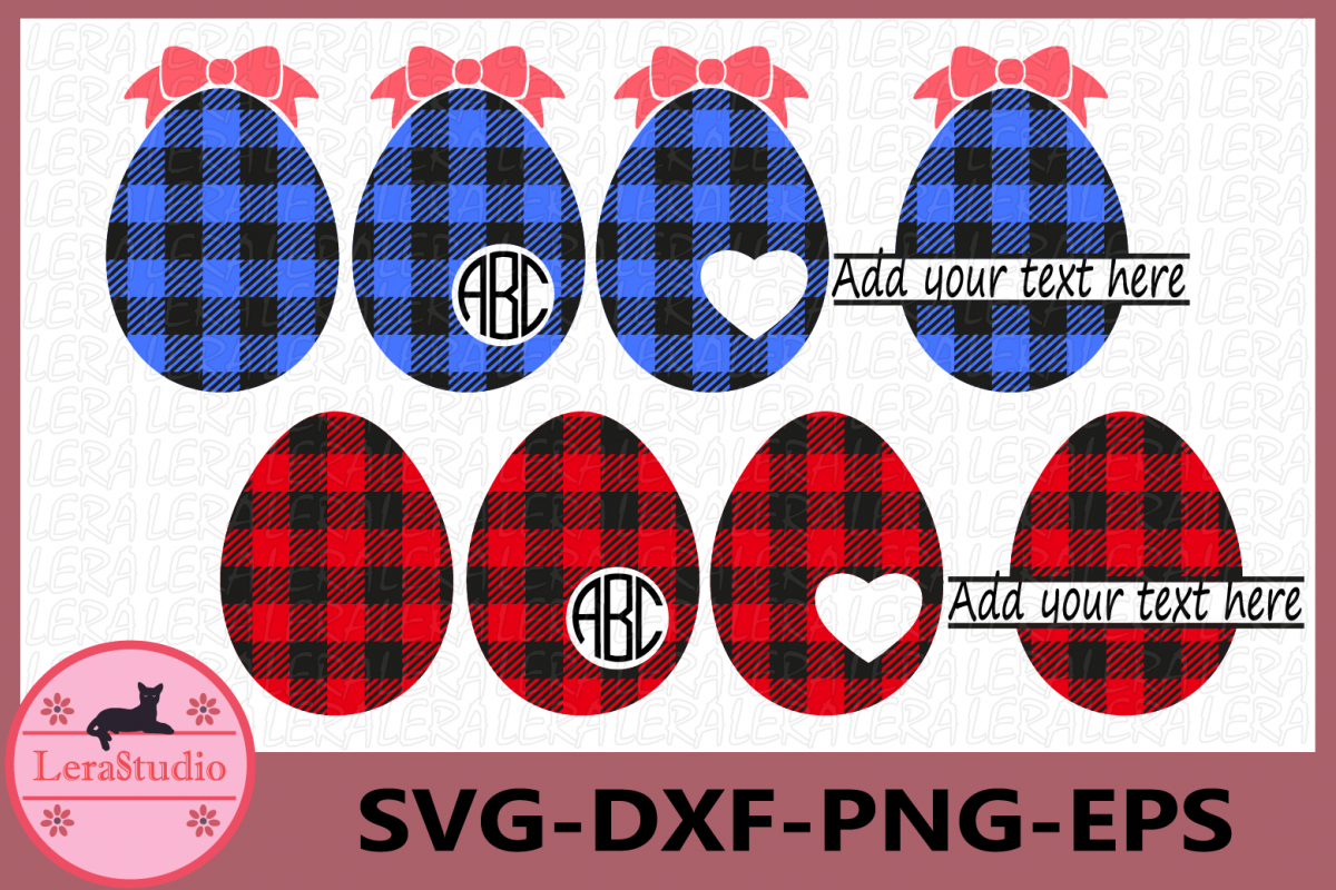 Eggs Buffalo Plaid Svg, Easter SVG, Easter Eggs Svg, Egg example image 1