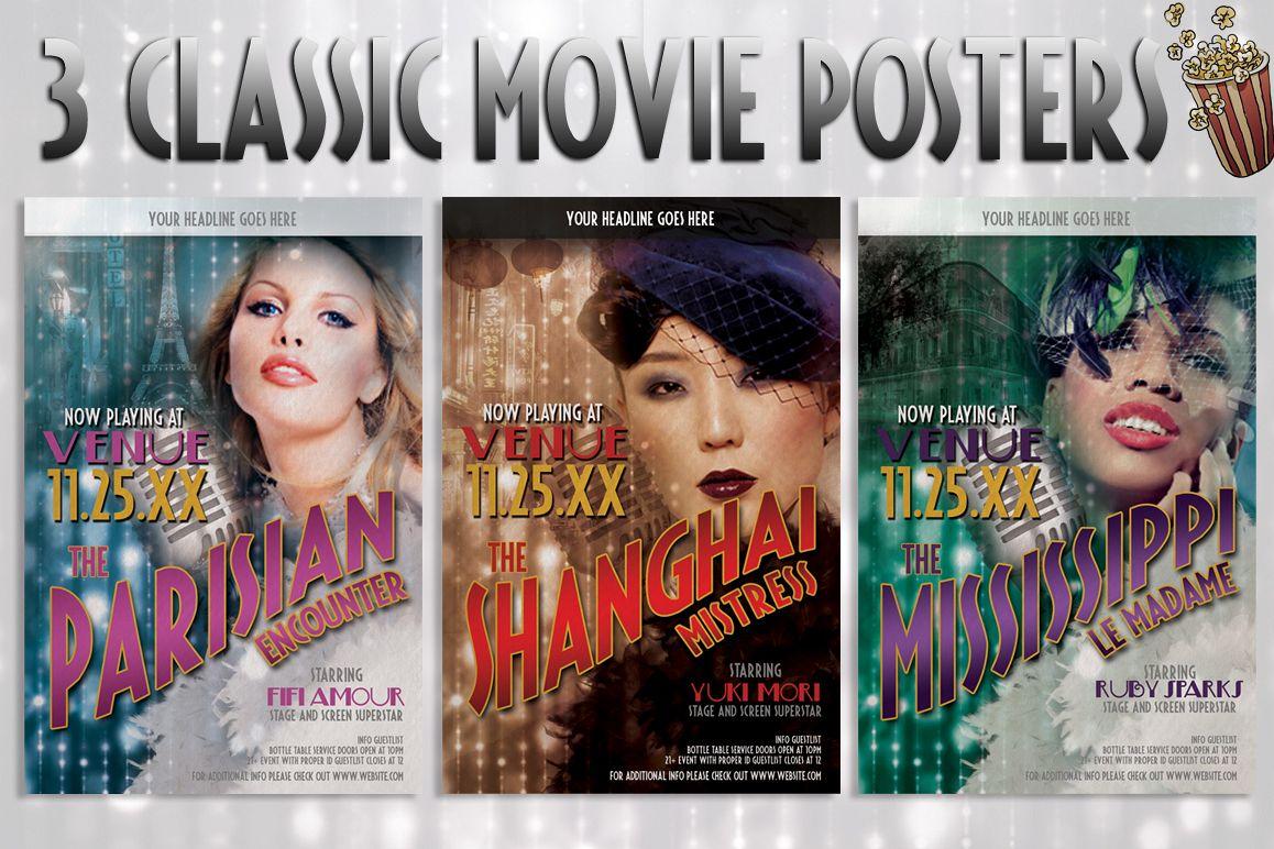 3 Retro Vintage Movie Posters example image 1
