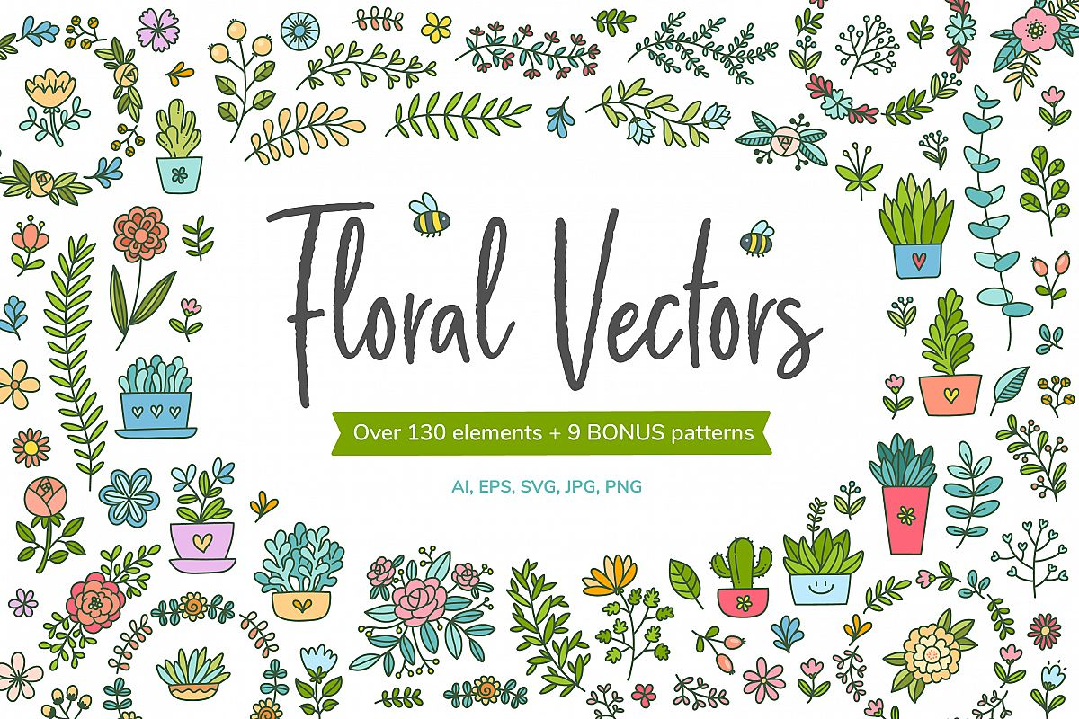 HUGE - Hand Drawn Floral Vectors and Patterns example image 1