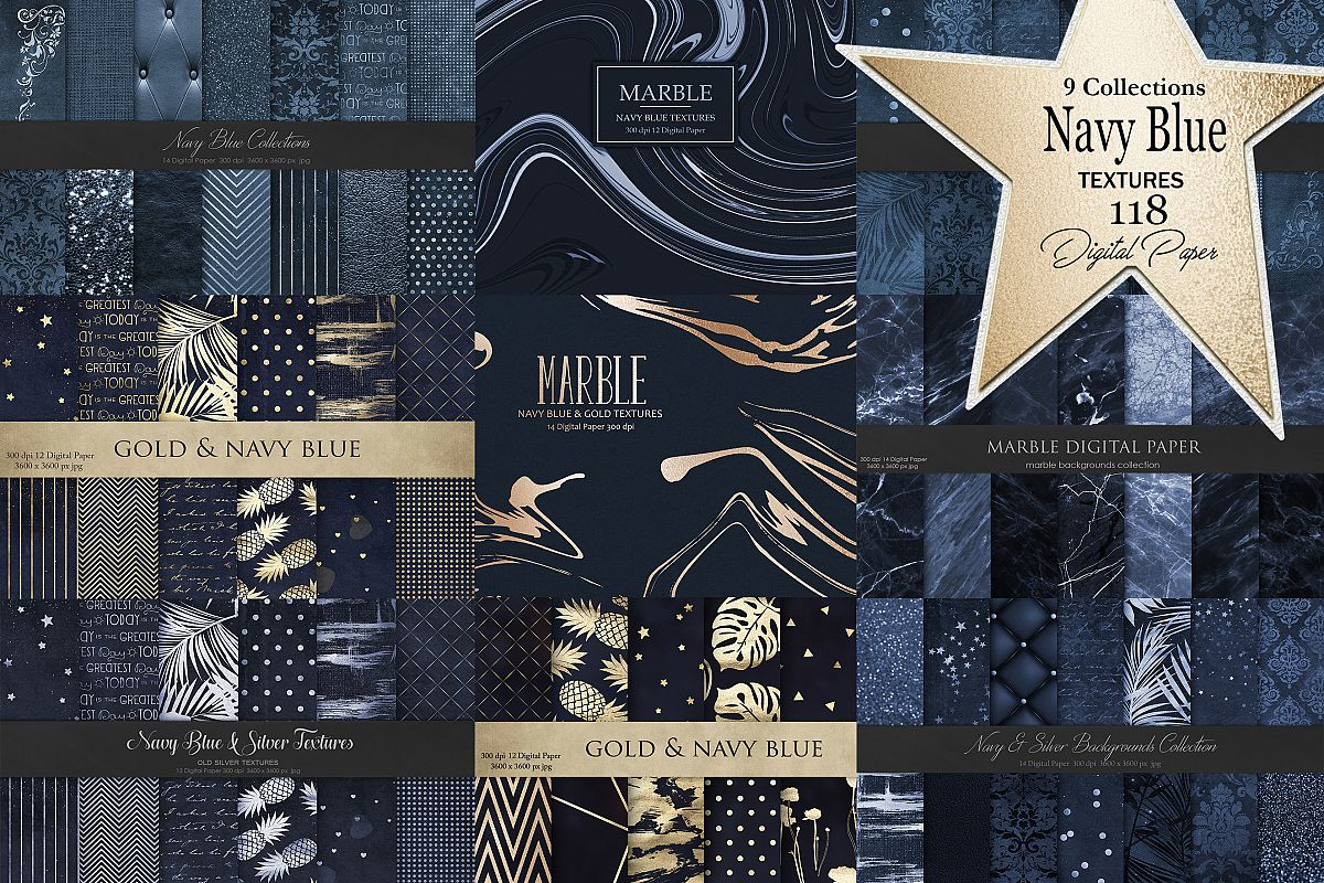 Navy Blue Gold Silver 118 Texture and Backgrounds example image 1