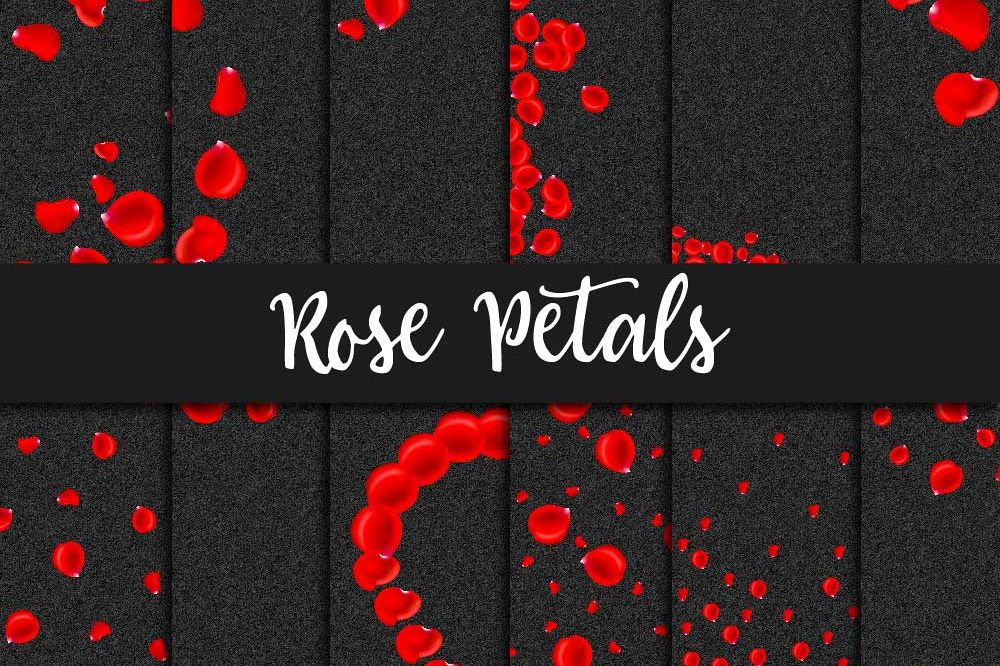 Red Rose Petals Digital Paper example image 1