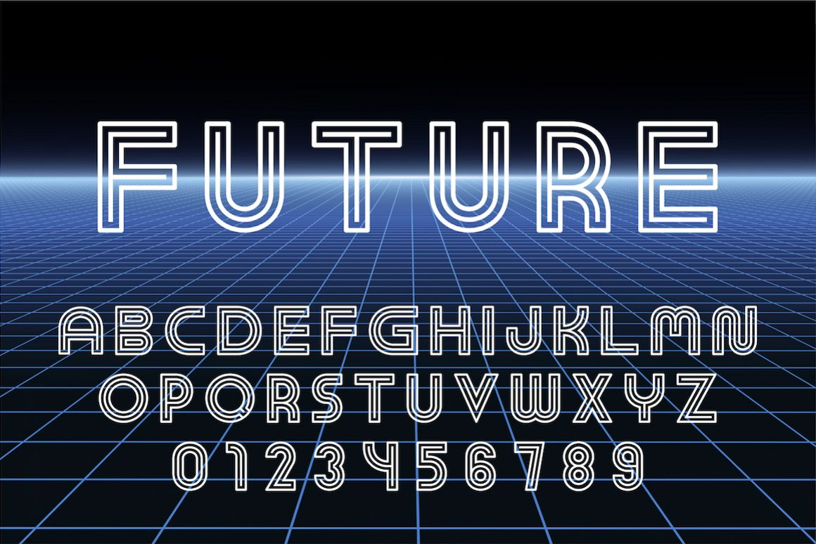 English futuristic designer alphabet example image 1