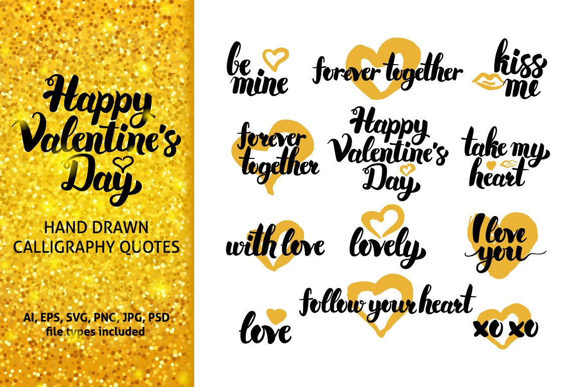 Valentines Day Hand Drawn Quotes example image 1
