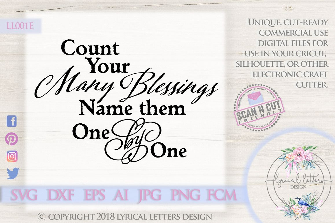 Count Your Many Blessings Christian Hymn SVG DXF LL001E example image 1
