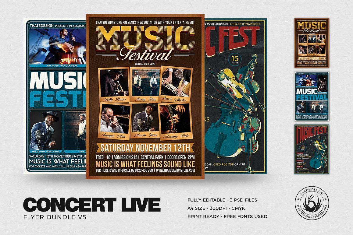 Concert Live Flyer Bundle V5 example image 1